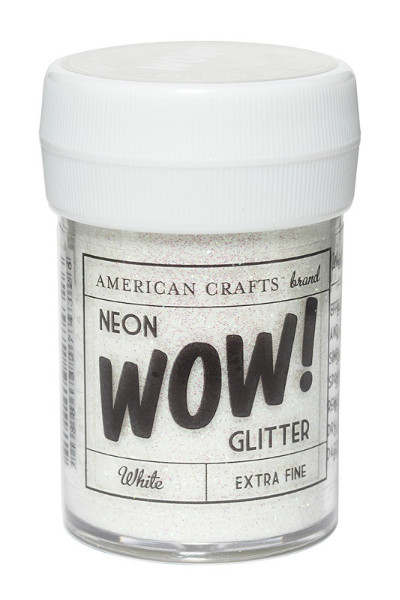 Глиттер неоновый экстра-мелкий American Crafts WOW! Белый (30 мл)