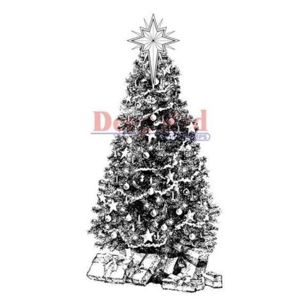Резиновый штамп «Decorated Christmas Tree» от Deep red stamps